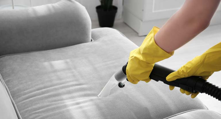 Woman professionally cleaning couch